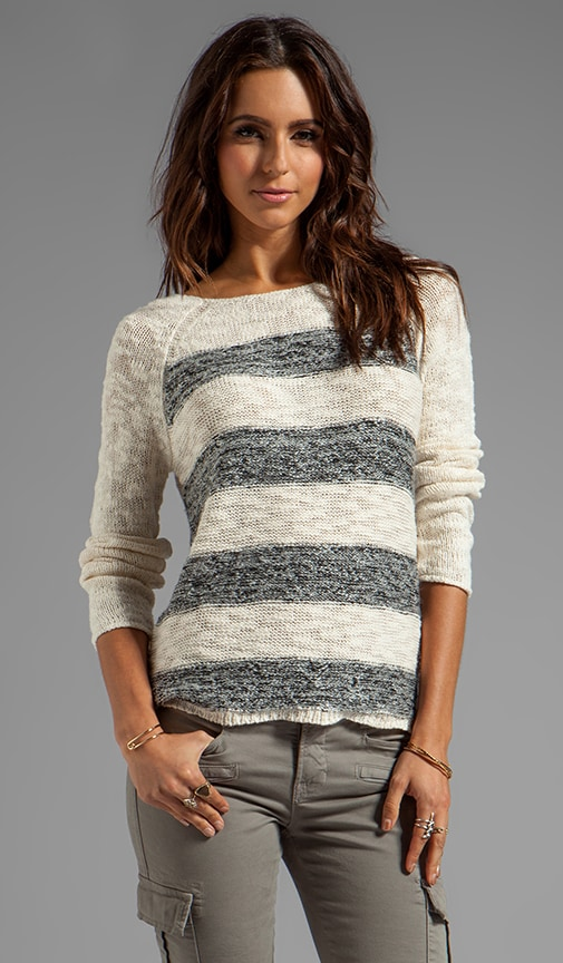 Knits Striped Marle Baseball Pullover on Ivory