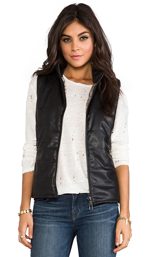 Vegan Leather Puffer Vest