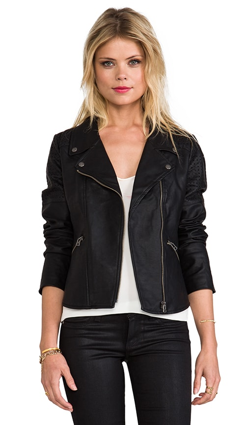 Vegan Leather Lazer Cut Moto Jacket
