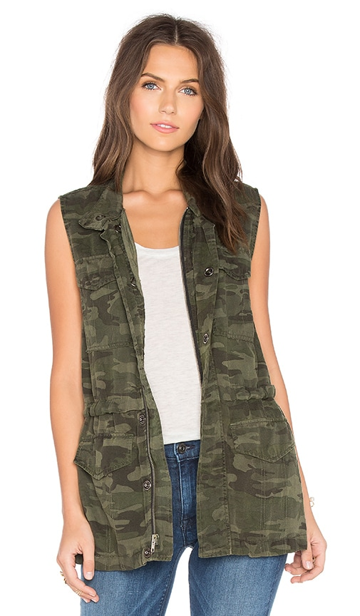 Sanctuary Courier Military Vest in Olive