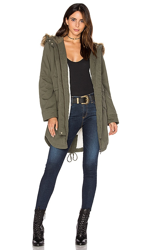 Sanctuary Kara Winter Faux Fur Parka in Army