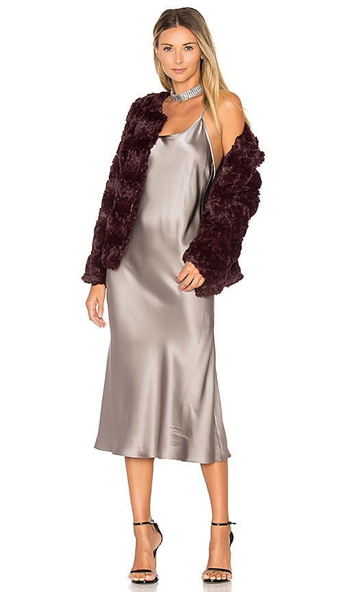 Sanctuary Faux Fur Real Chubby Bomber in Wine