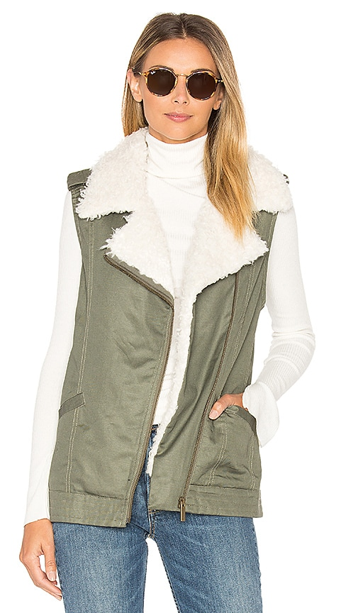 Sanctuary Alexis Faux Fur Trimmed Vest in Army
