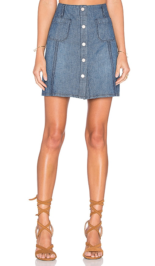 Sanctuary Marianne Button Up Skirt in Blue