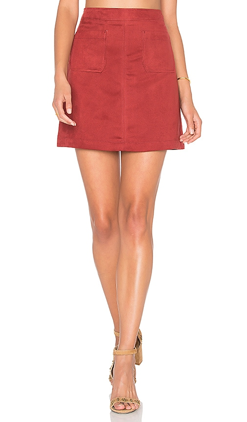 Sanctuary Serina Faux Suede Skirt in Red
