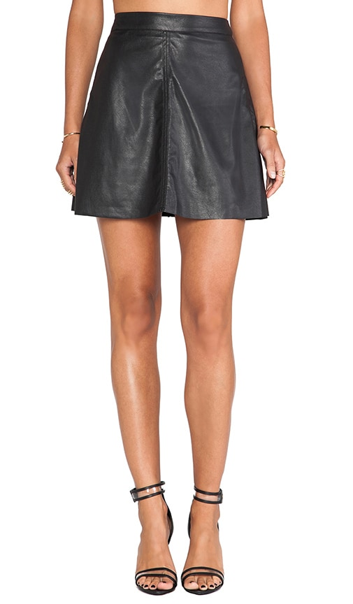 Vegan Leather Fluted Skirt