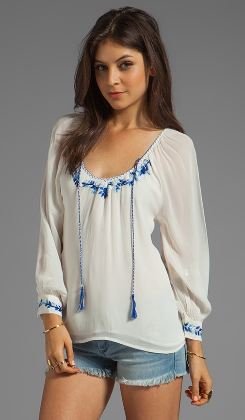 Provence Blues Embroidered Gypsy Top
