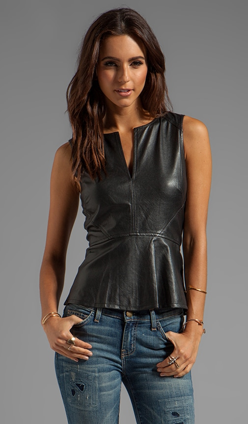 Vegan Leather Peplum Top