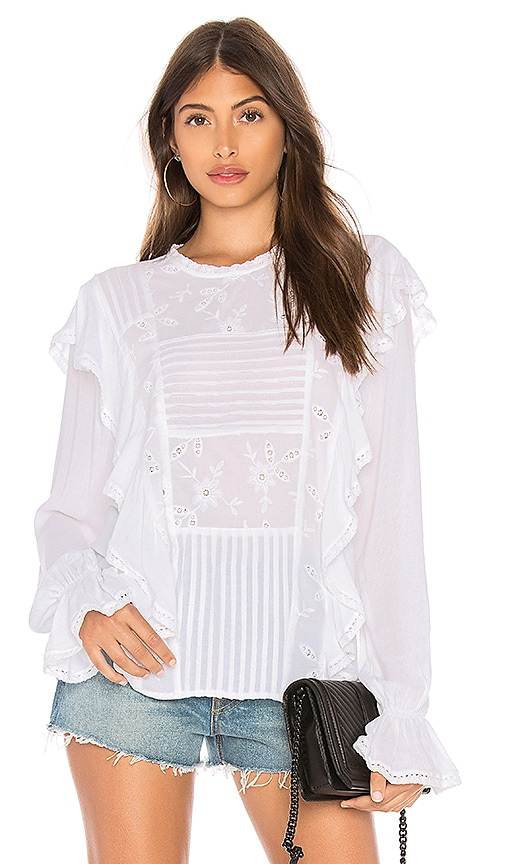 Sanctuary Poppy Ruffle Blouse in White