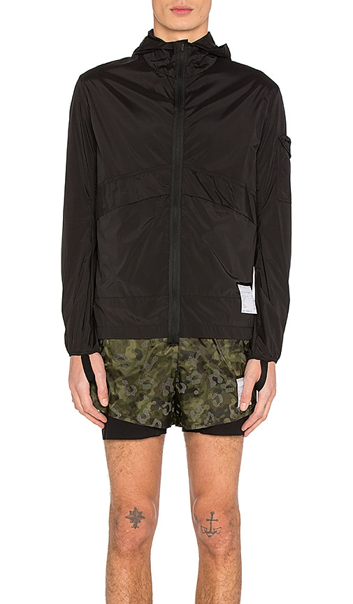 Satisfy Packable Zip Front Windbreaker in Black