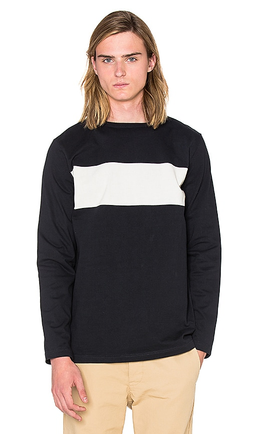 SATURDAYS NYC Alek Overprinted Stripe Tee in Black