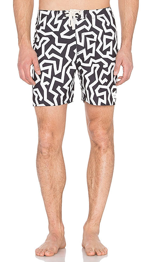 SATURDAYS NYC Colin Seamless Board Shorts in Black & White