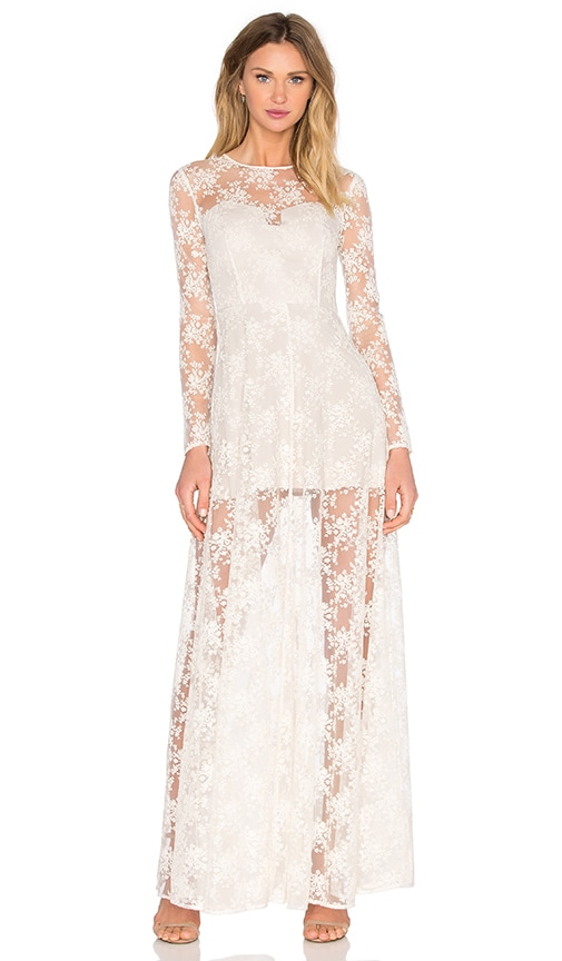 SAU Ella Lace Maxi Dress in White