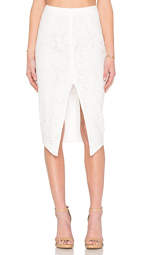 SAU Zoe Lace Pencil Skirt in White