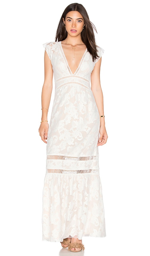 SAYLOR Rosie Maxi Dress in White & Nute