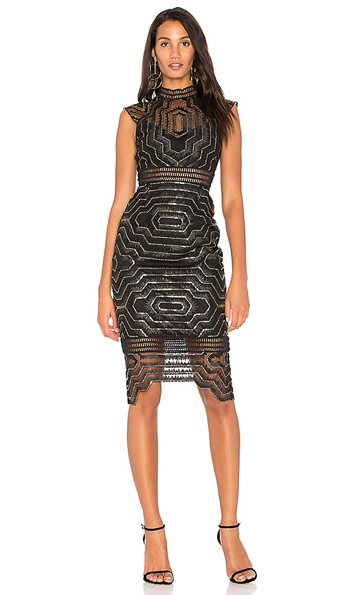 SAYLOR Heloise Embellished Midi Dress in Black
