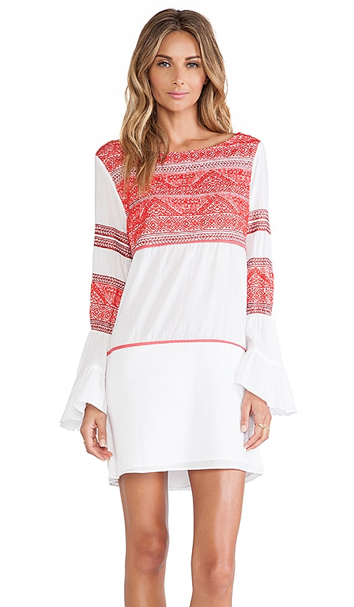 Sofia by Vix Swimwear Kilim Embroidered Short Dress in White