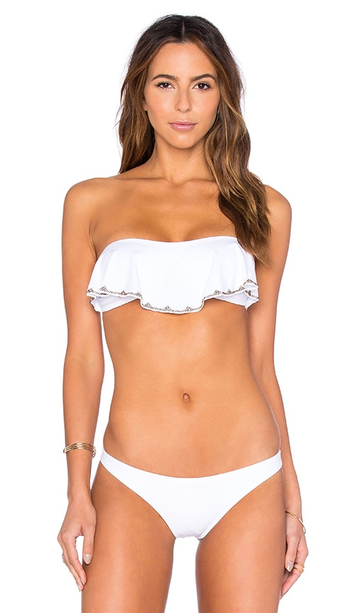 SOFIA by ViX Ruffle Bandeau Bikini Top in Solid White