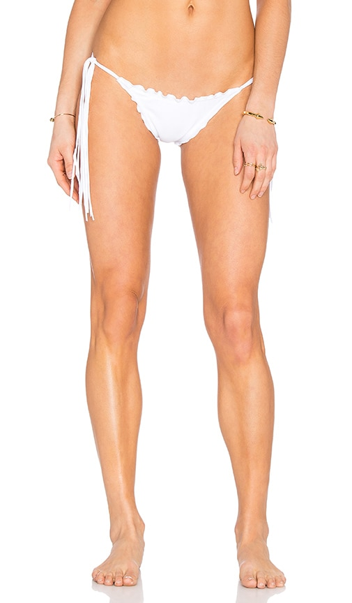 SOFIA by ViX Fringe Ripple Side Tie Bikini Bottom in White