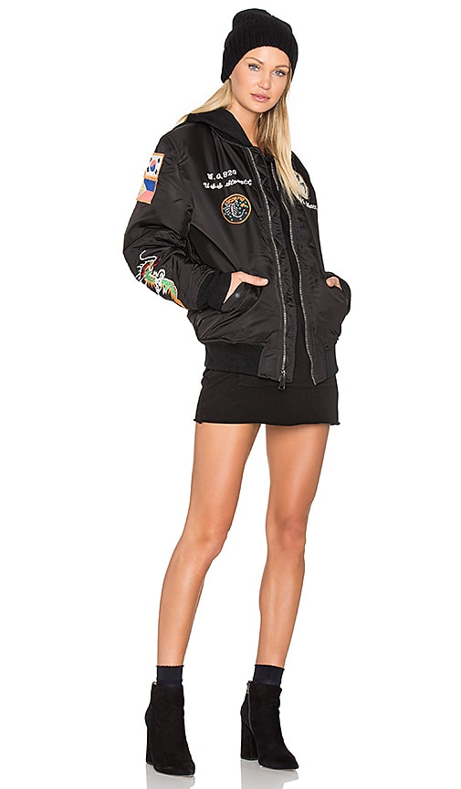 Schott Nylon MA-1 Flight Souvenir Jacket in Black