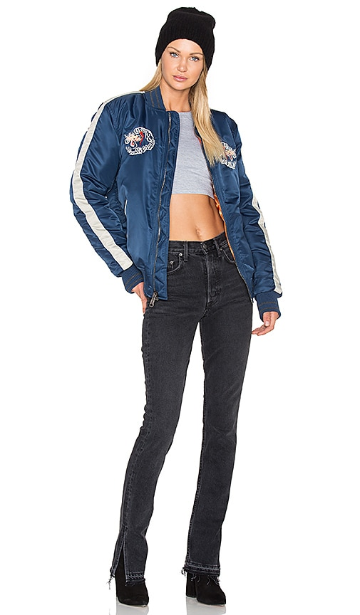 Schott Souvenir Baseball Jacket in Blue