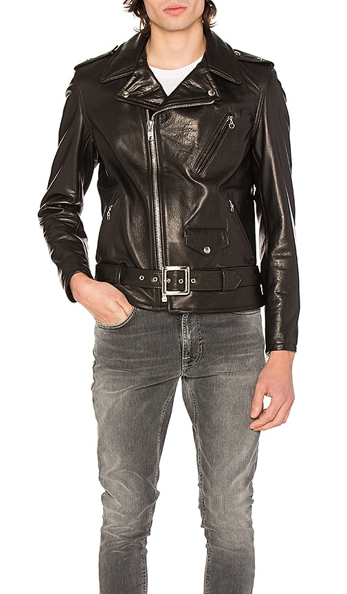 Schott Pebbled Moto Jacket in Black