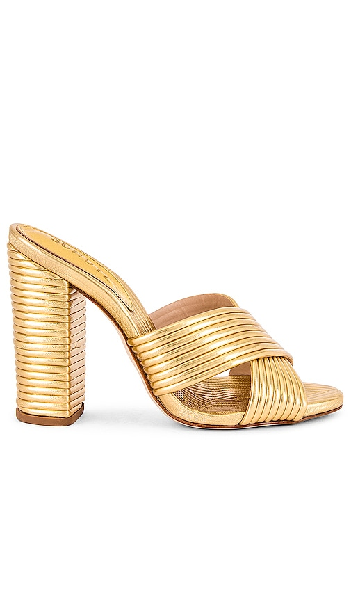 70s Outfits – 70s Style Ideas for Women Schutz Emma Dale Mule in Metallic Gold. - size 7 also in 5.56.57.5 $185.00 AT vintagedancer.com