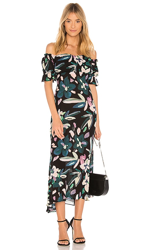 STONE COLD FOX Flores Off The Shoulder Midi Dress in Black