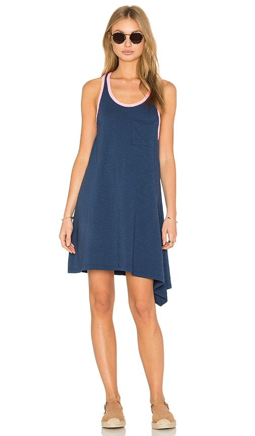 SUNDRY Asymmetrical Mini Dress in Blue