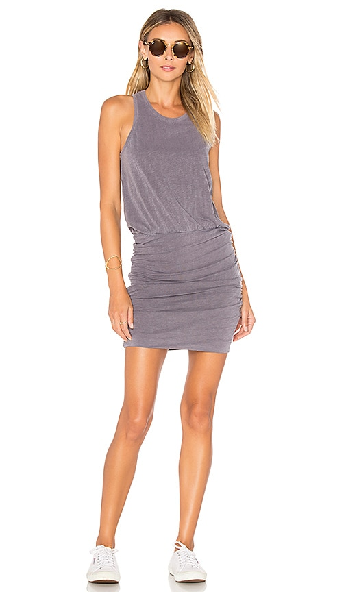 SUNDRY Sleeveless Slub Spandex Dress in Gray