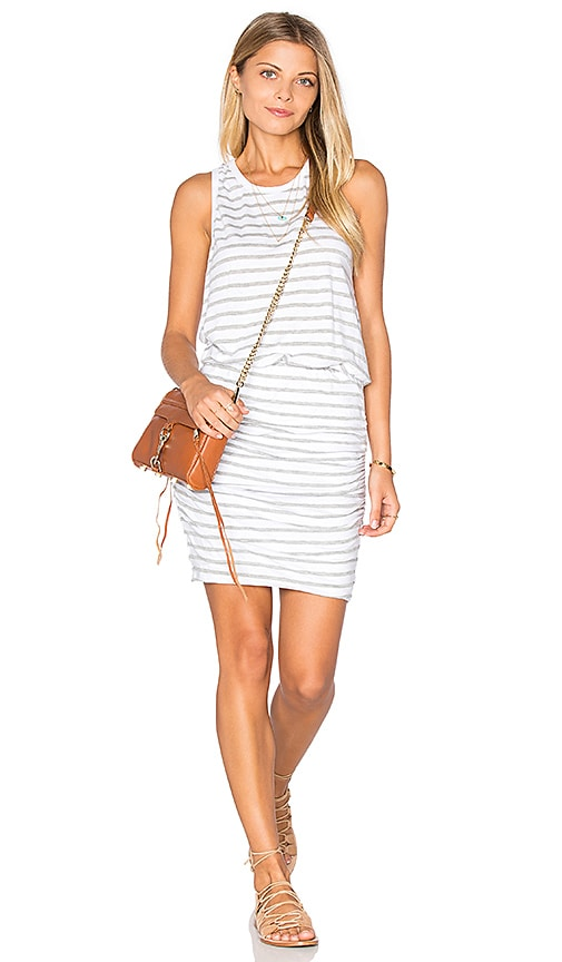 SUNDRY Striped Ruched Tank Dress in White