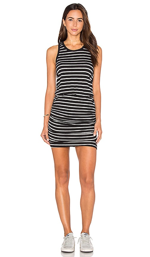 SUNDRY Striped Ruched Tank Dress in Black