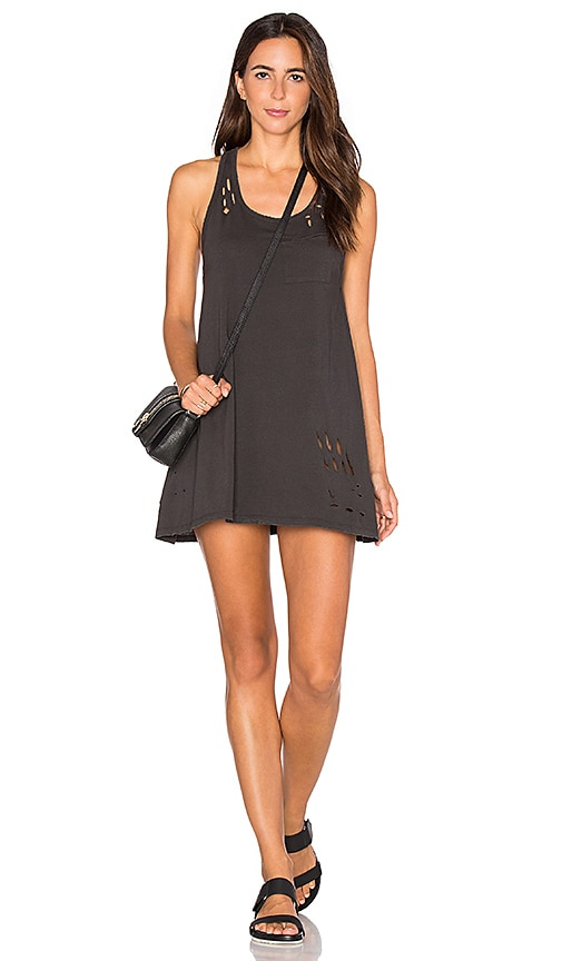 SUNDRY Texture Jersey Tank Dress in Black