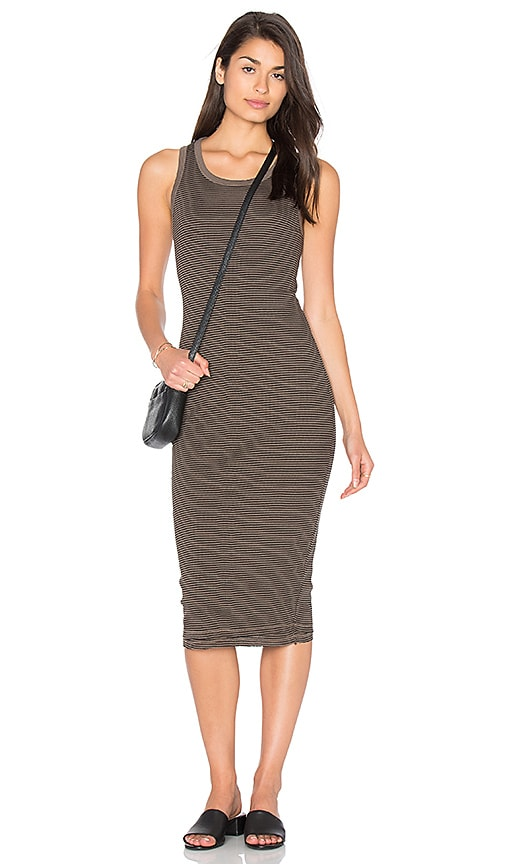 SUNDRY Stripes Rib Midi Dress in Army