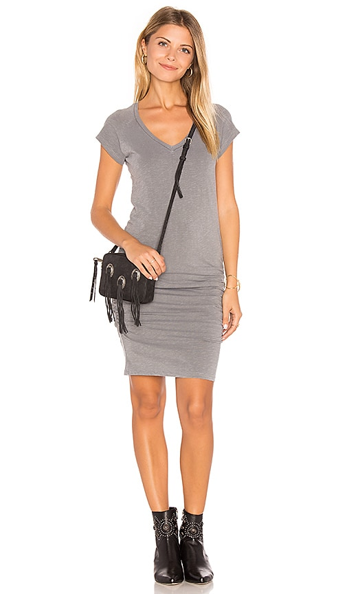 SUNDRY V-Neck Slub Spandex Dress in Sage
