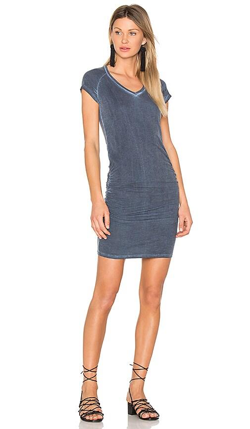 SUNDRY Ruched V Neck Mini Dress in Slate