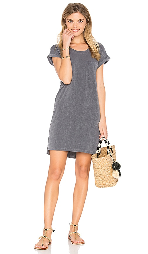 SUNDRY Roll Sleeve Tee Dress in Gray