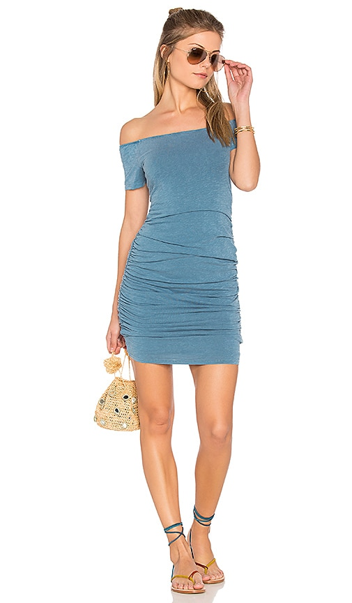 SUNDRY Off the Shoulder Dress in Blue
