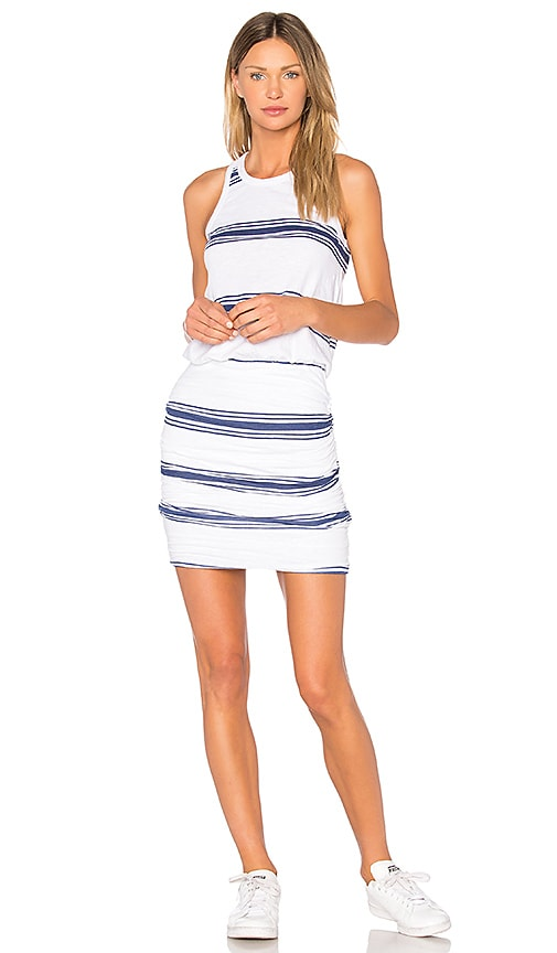 SUNDRY Navy Stripes Tank Dress in White