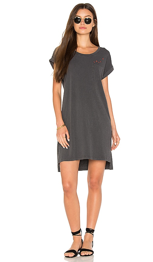 SUNDRY Lover Rolled Sleeve Dress in Charcoal