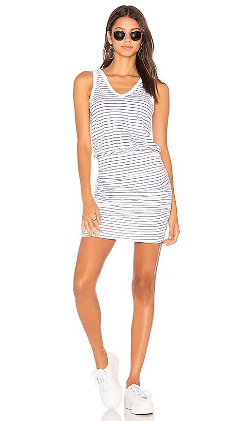 SUNDRY Thin Navy Stripes U Neck Dress in White