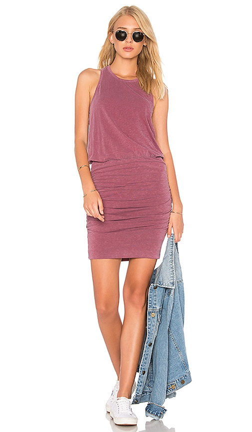 SUNDRY Ruched Tank Dress in Mauve