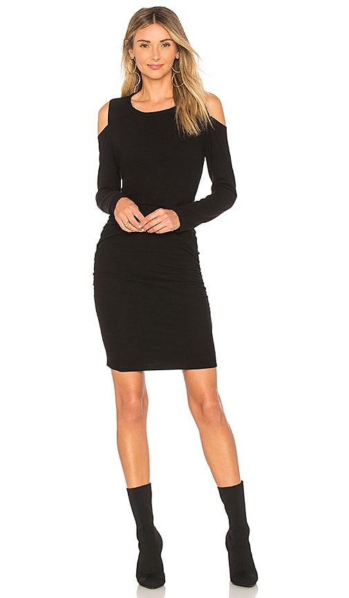 SUNDRY Cold Shoulder Dress in Black
