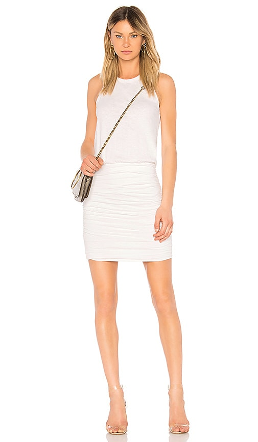 SUNDRY Ruched Tank Dress in White