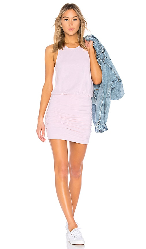 SUNDRY Ruched Tank Dress in Pink