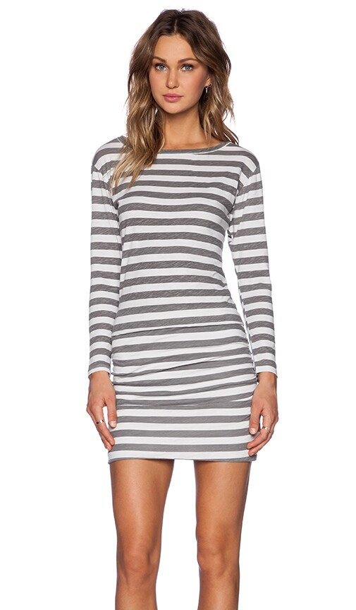Thick Stripe Boat Neck Long Sleeve Dress