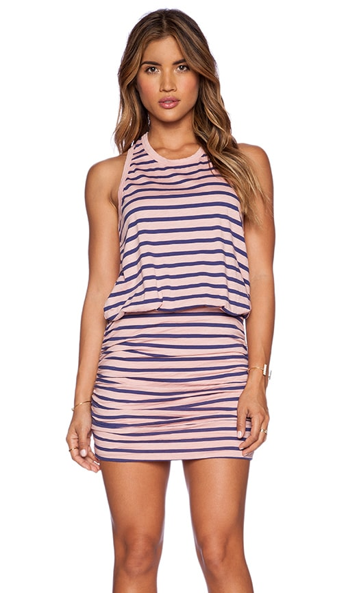 SUNDRY Striped Ruched Tank Dress in Dark Nude
