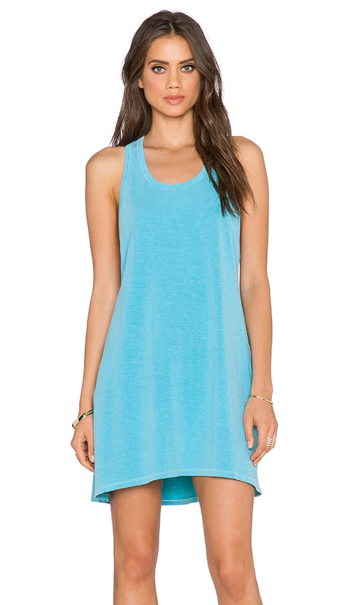 SUNDRY Tank Swing Dress in Turquoise Pigment