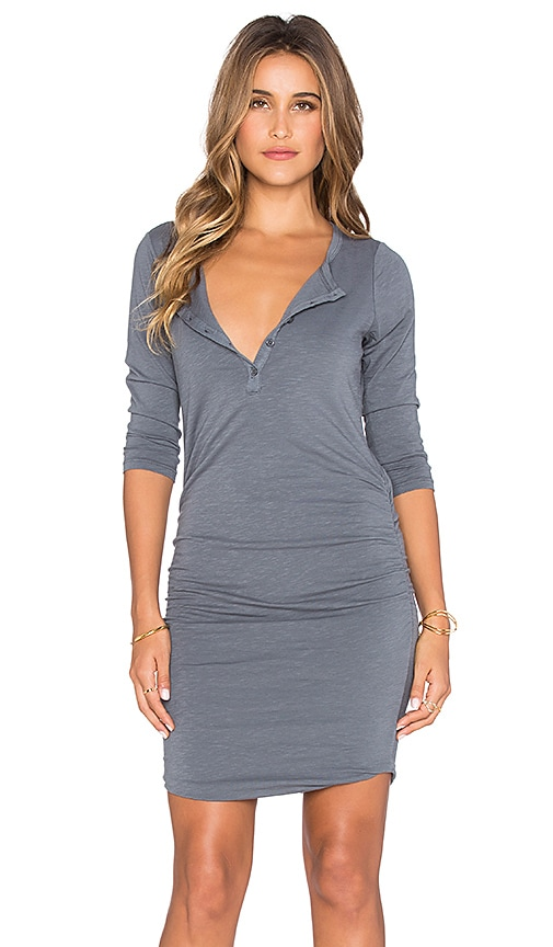 SUNDRY 3/4 Henley Dress in Charcoal