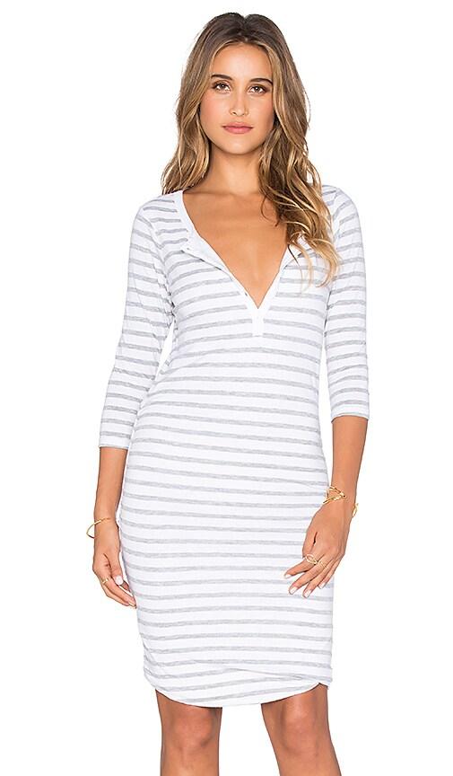 Striped 3/4 Henley Dress